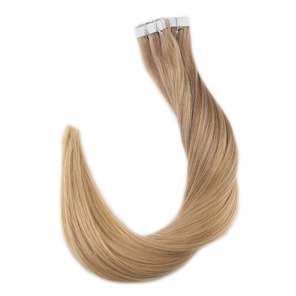 Full Shine Tape in Hair Extensions Human Hair Color #10 Fading to #16 With #16 Balayage Real Hair Tape Extensions 20 Pcs 50gram