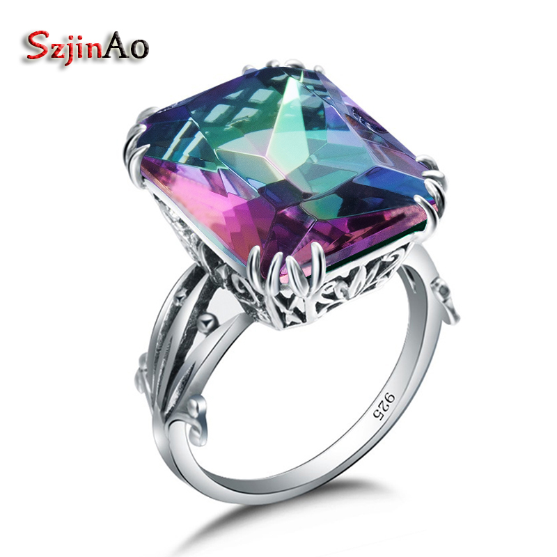 Szjinao Promotional boutique replica jewelry silver antique colorful mystic Rainbow Topaz women real 925 sterling silver ring replica ki134 7x18 5x114 3 d67 1 et41 silver