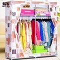 Двойной червячной семья простой ткань гардероб большая армированной нетканые шкаф гардероб занавес молния