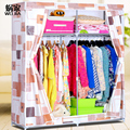Double worm family simple cloth wardrobe large steel reinforced non-woven wardrobe closet curtain zipper