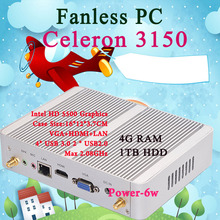 Мини-ПК i3 3150U NUC Windows 10 Micro Barebone компьютер HD 5500 Graphics 4 К HTPC 300 м Wi-Fi Bluetooth VGA, HDMI 4 ГБ ОЗУ 1 ТБ HDD