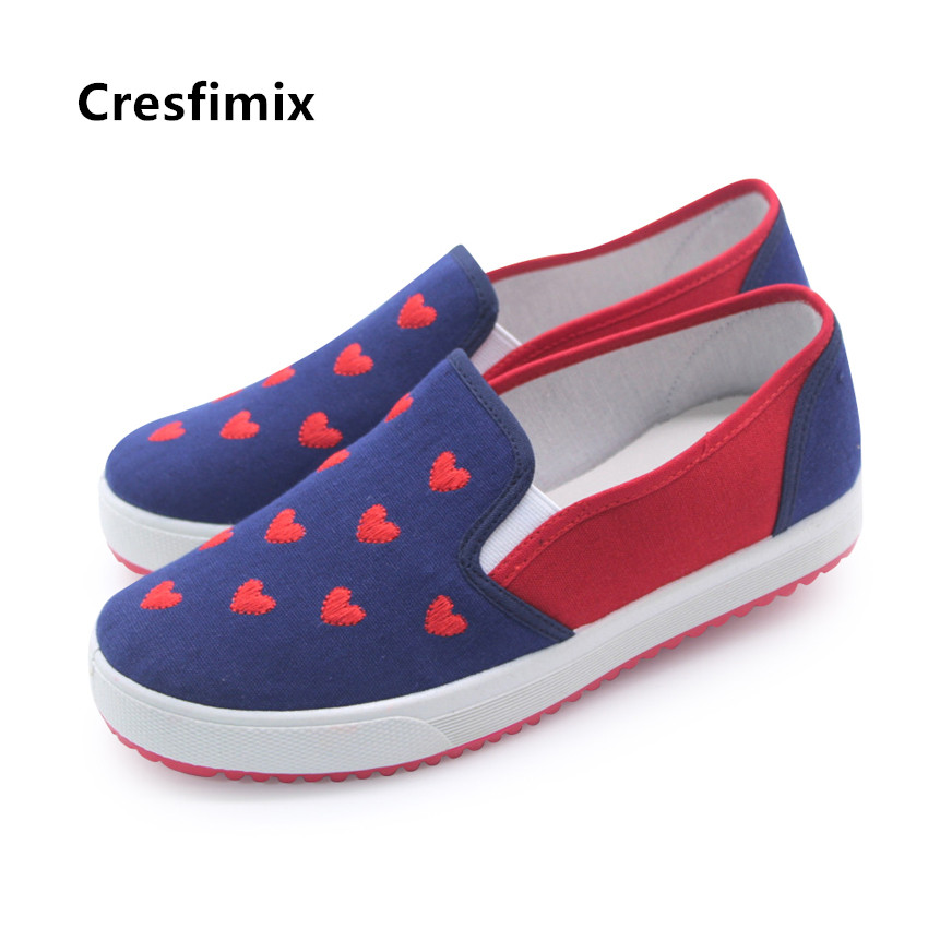 Cresfimix women fashion cute slip on canvas shoes lady casual sweet anti skid shoes female height increased leisure shoesCresfimix women fashion cute slip on canvas shoes lady casual sweet anti skid shoes female height increased leisure shoes