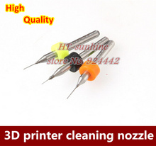 10PCS/Set 3D printer makerbot mendel reprap cleaning nozzle drill 0.4mm/0.3mm/0.2mm for MK7 or MK8 nozzle