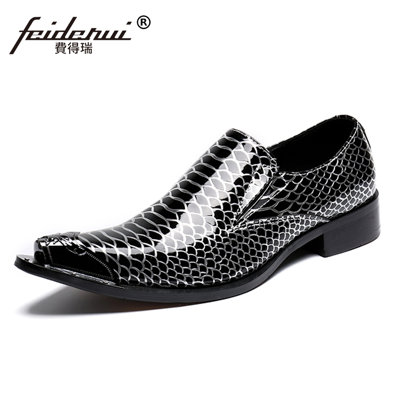 Plus Size New Italian Designer Man Wedding Party Loafers Patent Leather Alligator Pointed Toe Men's Runway Dance Shoes SL177 plus size fashion pointed toe derby man runway footwear italian designer patent leather wedding party men s runway shoes sl435