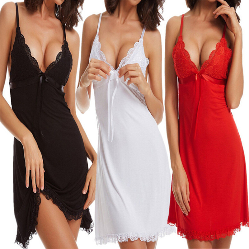 Sexy Women Lace Short Mini Braces Nightdress Smooth Satin Nightgown Sleepwear S/M/L/XL/XXL/XXXL