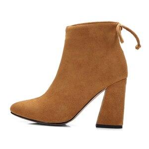 Image 2 - ESVEVA 2020 נשים מגפי פלוק קרסול מגפי בוהן עגול חורף נעלי כיכר עקבים גבירותיי מערבי מסיבת זמש סתיו מגפי גודל 34 43