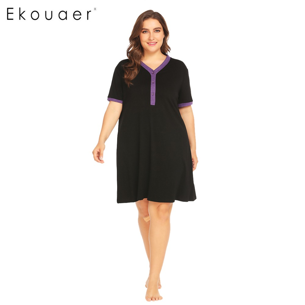 Loose nightgown women nightwear dress v-neck short sleeve maternity  breastfeeding plus size night dress 8a7e3279b