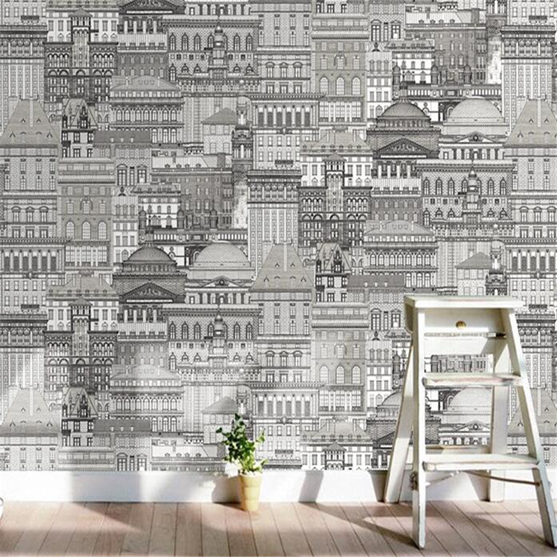 beibehang Modern style black and white city architecture clothing store wallpaper wallpaper bedroom background wall paper