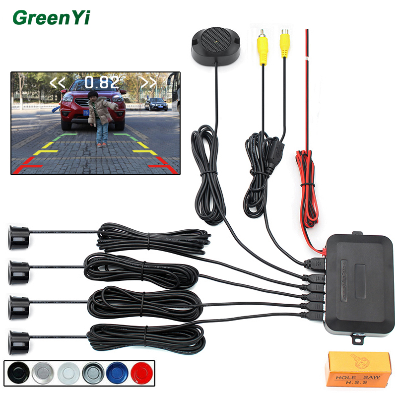 imágenes para Dual Core CPU Video Sensor De Aparcamiento Radar de Reserva Reverso Asistencia, Auto estacionamiento Monitor de Pantalla Digital y Step-up de Alarma