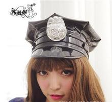Black Police Hat Cosplay Accessories Military Uniform Cap Halloween Party Supplies