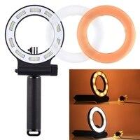 Tüketici Elektroniği'ten Makro ve Yüzük Işıkları'de SL 109 Yuvarlak Şekilli 40 M Su Geçirmez Video Işık 3 Modu 30 LED Kolu Kavrama ile & Beyaz & Turuncu Filtre goPro  xiaoyi