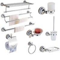 Conjunto de ferragens do banheiro de prata europeu cristal claro acessórios do banheiro conjunto acabamento cromado base cerâmica produtos do banheiro