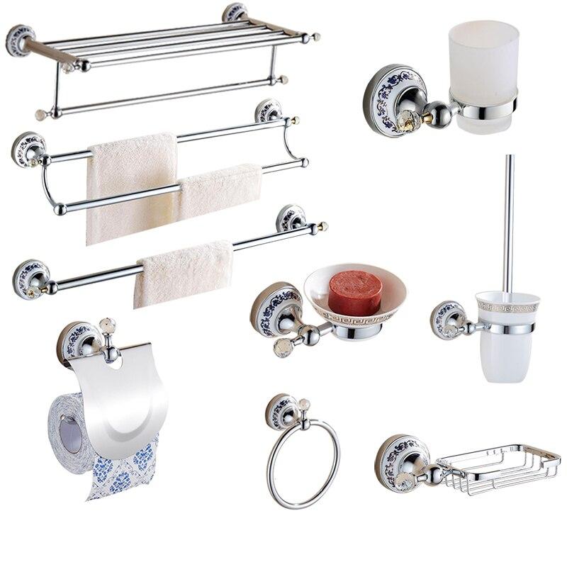 Europäische Silber Bad Hardware Set Klar Kristall Badezimmer Zubehör ...