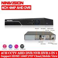 NINIVISION 5 In 1 Security CCTV DVR 4CH 8CH AHD 4MP 3MP 1080P H 264 Hybrid