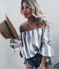 chic women blouse cute female ladies new slash neck geometric casaul striped womens top shirt
