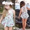 Venda quente 2016 Do Bebê Romper Padrão Floral do Verão Da Criança Macacão Roupas Calças Jardineiras Infantis Com Rendas Moda Bebê Romper