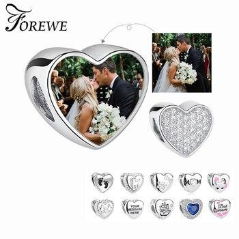 100% autentyczne srebro 925 kryształowe serce koralik urok pasuje oryginalny Pandora bransoletka zdjęcie niestandardowe do samodzielnego montażu tworzenia biżuterii