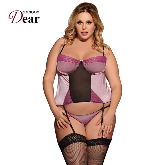 677160116 Comeondear Baby doll Sexy Lingerie Costume Deluxe Satin Lace Stitching  Costume Lingerie Drop shipping Plus Size Babydoll RJ80395