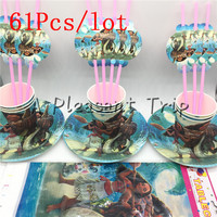 61pcs Lot Moana Cartoon Baby Shower Decoration Birthday Party Straws Moana Theme Paper Cups Kids Favors