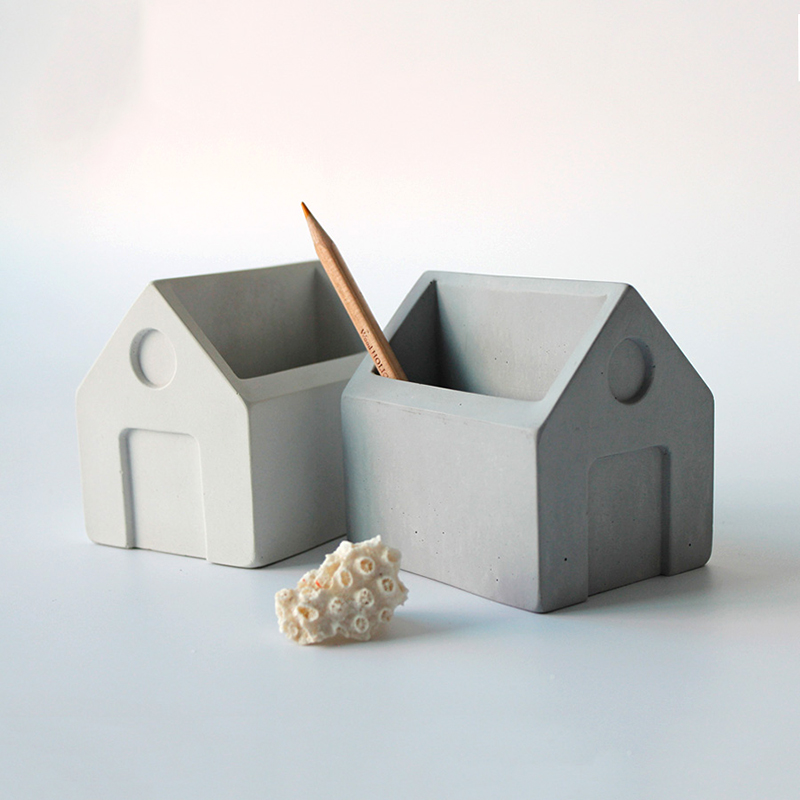 Concrete pen holder silicone mold home study decoration cement received display mold gifts