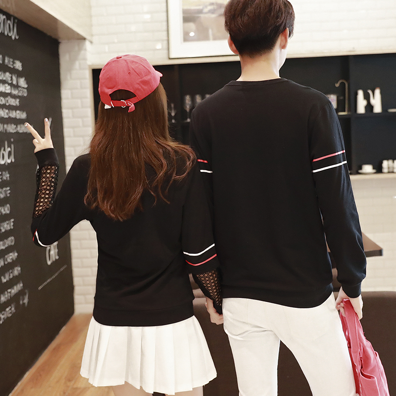 Valentineu0027s Day Casual T Shirt Patchwork White Black Hollow Matching Korean  Couple T Shirts