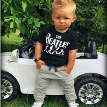 Retail 2016 new baby boy clothes 100% cotton in summer clothing set 2pcs Letters printing T-shirt + pants