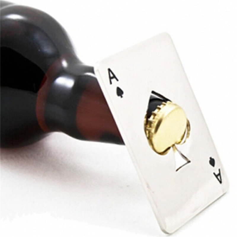 wholesale 300pcs/lot Hot Sale Stainless Steel Poker Playing Card of Spades Bar Tool Soda Beer Bottle Cap Opener Gift