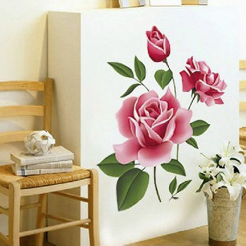Diy romantic love 3d rose flower wall stickers removable decal diy romantic love 3d rose flower wall stickers removable decal home living room bed decor art mothers day gift in wall stickers from home garden on amipublicfo Image collections