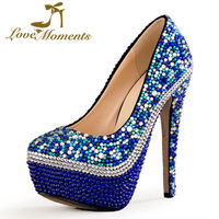 Amore Momenti scarpe donna Multicolore Scarpe Da Sposa strass scarpe da donna Piattaforma tacchi alti del partito vestito da sera delle donne scarpe
