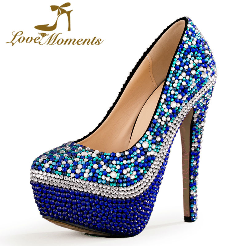 Love Moments shoes woman Blue Multicolor Wedding Shoes rhinestone ladies shoes Platform high heels party evening dress shoes