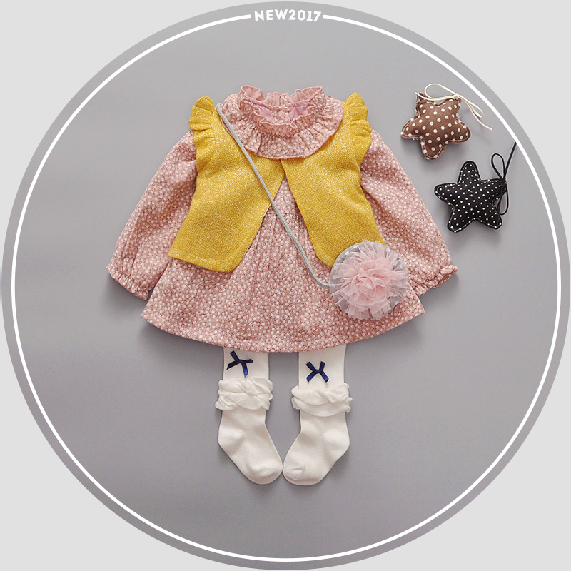 2017 Spring Kids Clothing Set Baby Dress + Waistcoat Floral Ruffle Collar Kid Cotton Long Sleeve Girl Toddler Outfits