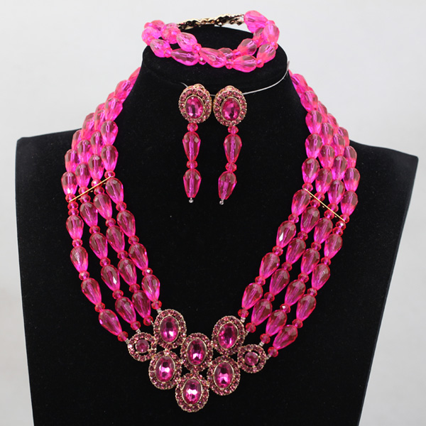 Charming Fuchsia Pink African Jewelry Sets Chunky Beaded Crystal Rhinestone Bride Jewelry Sets 9 Colors Free Shipping WD975Charming Fuchsia Pink African Jewelry Sets Chunky Beaded Crystal Rhinestone Bride Jewelry Sets 9 Colors Free Shipping WD975