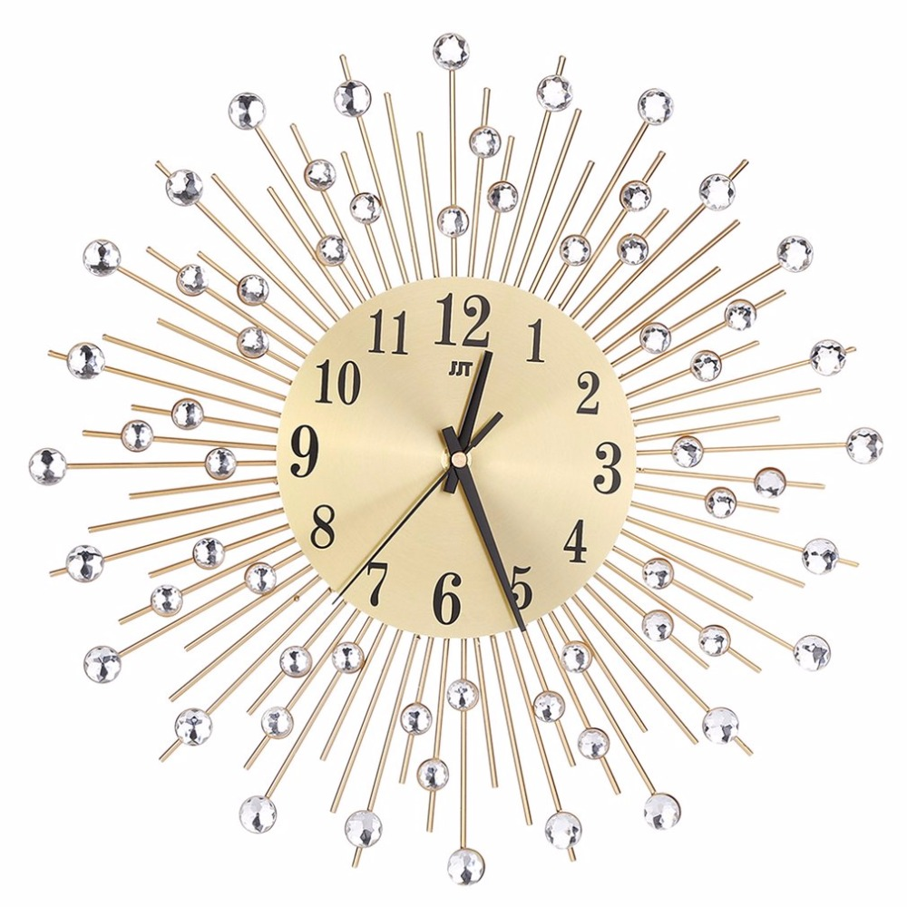 Modern Art Large Wall Clock Metal Sunburst Clear Diamante Crystal Mute Wall Clock Home Decor For Living Room Bedroom