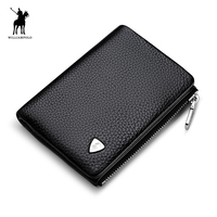 WilliamPOLO 2017 Mode 100% Koe Lederen Originele Merk Korte Solid Mini Wallet Mannen POLO199
