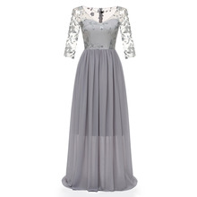 High-grade Lace v-neck Long evening dress chiffon Slim fit evening gown The embroidery Party Dresses robe de soiree