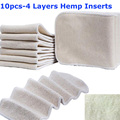 10pcs Hot Sale 4 Layers Natural Ecological Organic Cotton Hemp Inserts Cloth Diapers Unisex Baby Changing Pads 14X35