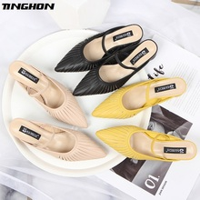 TINGHON 2019 summer new sandals and slippers female  Mules shoes thick with pointed outside wearing womens