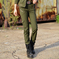 Womens Fashion Casual Cotton Army Green Straight Long Pants Multiple Pockets Zippers Decoration Military Female Recruits Pants L