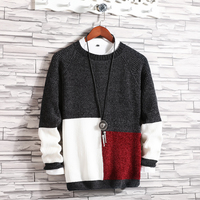Spring Winter New Knit Sweaters O Neck Woolen Sweater Mens Brand Clothing Patchwork Loose Knitted Pullover Men M 5XL