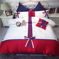 Fashion Modern White Red Blue Bow Embroidery 60S Egyptian Cotton 4/7pcs Bedding Set Duvet Cover Bed sheet Bed Linen Pillowcases