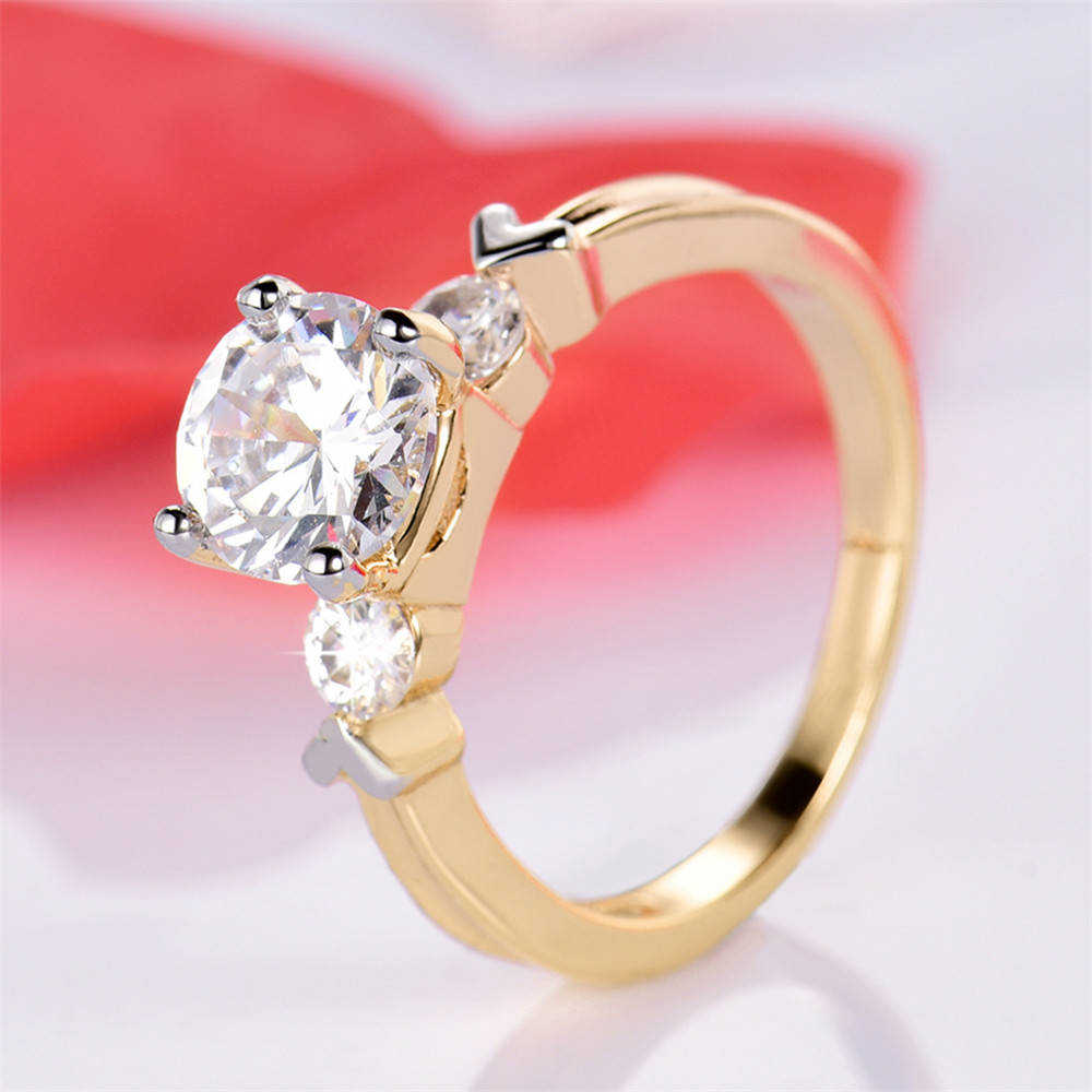 MOLIAM Wedding Bridal Ring Set for Women Gold Color Cubic Zirconia ...