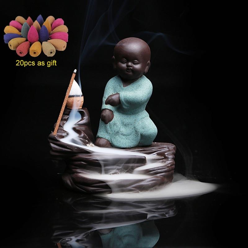 Pequeno Monge Refluxo Queimador de Incenso Buda com 20Pcs Dom Incenso Cones Aromaterapia Incenso Cerâmico Decoração Da Sua Casa