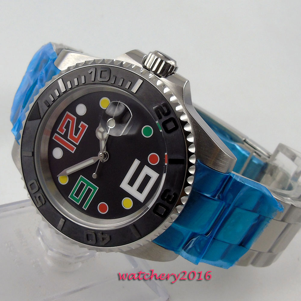 40mm Bliger Black dial ceramic bezel Date Window Sapphire Glass Deployment clasp Luminous Hands Automatic movement Men's Watch цена