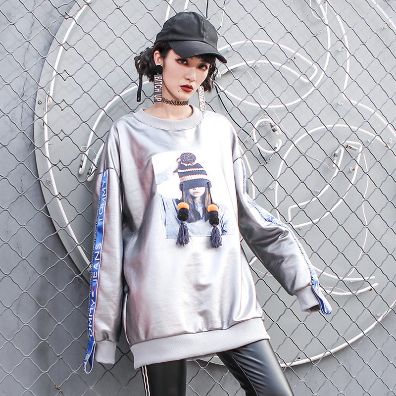 2019 Spring Hips Hop Style Sliver Sweatshirt Women Thicker Long Sleeve A Girl With Hat Pattern