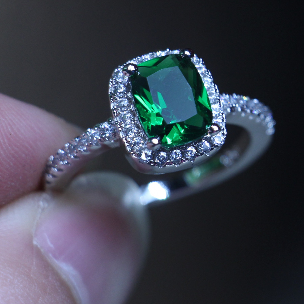 Luxury Jewelry Lovers Ring Cushion Cut 3ct 5a Birthstone Green Cz 925  Sterling Silver Engagement Wedding Band Ring For Women