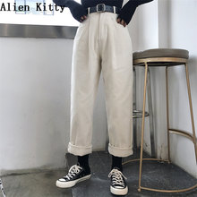 Alien Kitty Loose High Waist Thin Pants Women 2019 Spring Autumn Femme Fashion Simple Casual Solid Pants Girls All-Match Fresh cheap Ankle-Length Pants Polyester spandex COTTON Zipper Fly Flat 81H616B1-9695[D8] Broadcloth Straight REGULAR Pockets