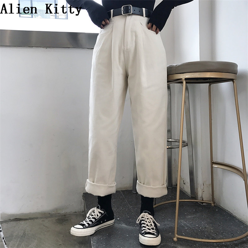 Alien Kitty Loose High Waist Thin Pants Women 2019 Spring Autumn Femme Fashion Simple Casual Solid Pants Girls  All-Match Fresh