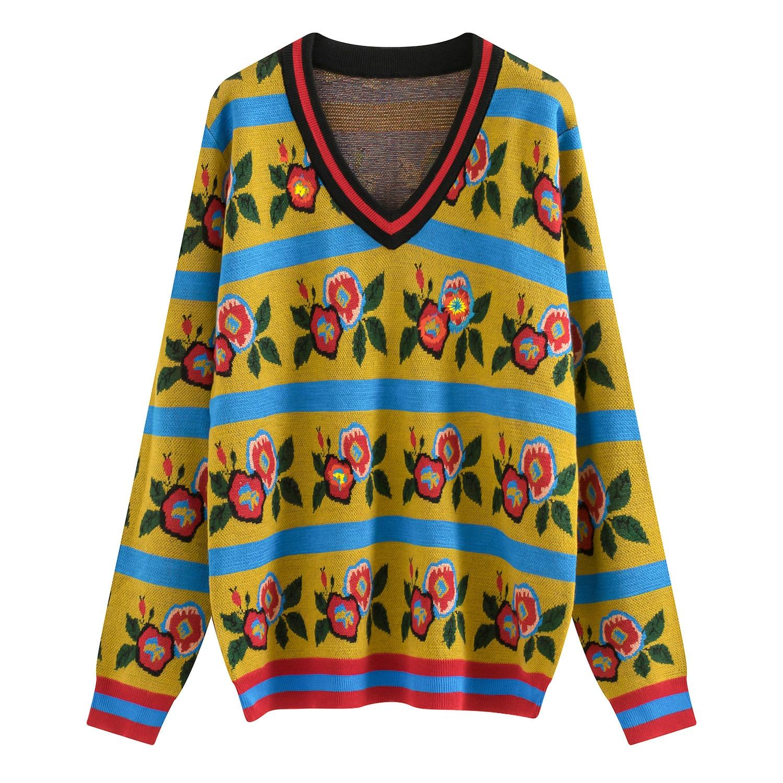 florais nova moda designer outono e inverno camisola de malha pullovers