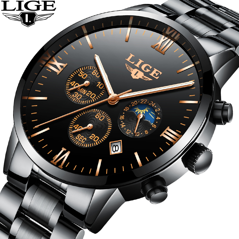 LIGE Men Watches Luxury Top Brand Military Sports black Watch Men Business Waterproof Full Steel Quartz Watch Relogio Masculino 2017 lige brand luxury full stainless steel watch men business casual quartz watches military wristwatch waterproof relogio