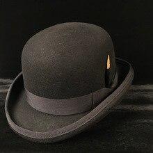 100% Wol Pria dan Wanita Hitam Coklat Bowler Hat Pria Crusher Derby Topi  Ayah Billycock Pengantin Pria Topi Steampunk S M X XXL 24d4784d54